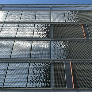 grating panels with stainless steel sheets for wall cladding and screening