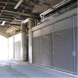 louvre panels and doors screening mechanical plant and waste disposal areas