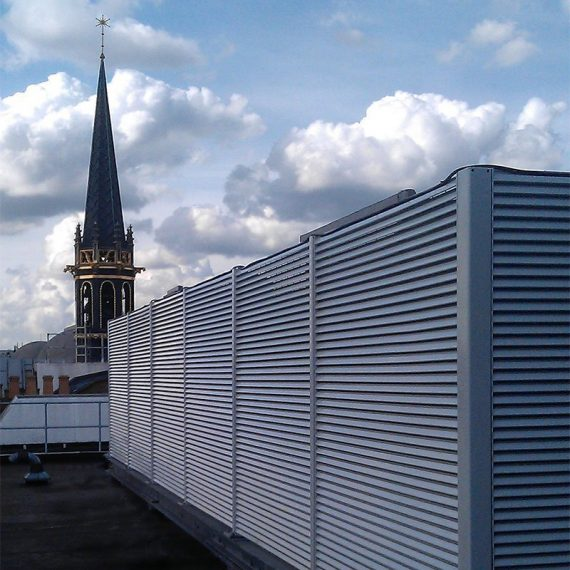 Italia-100 steel louvre roof plant housing screen 1