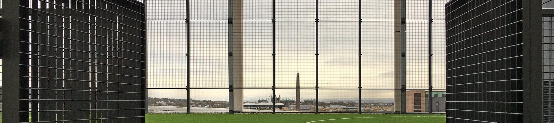 school roof-top MUGA ball court grating screen