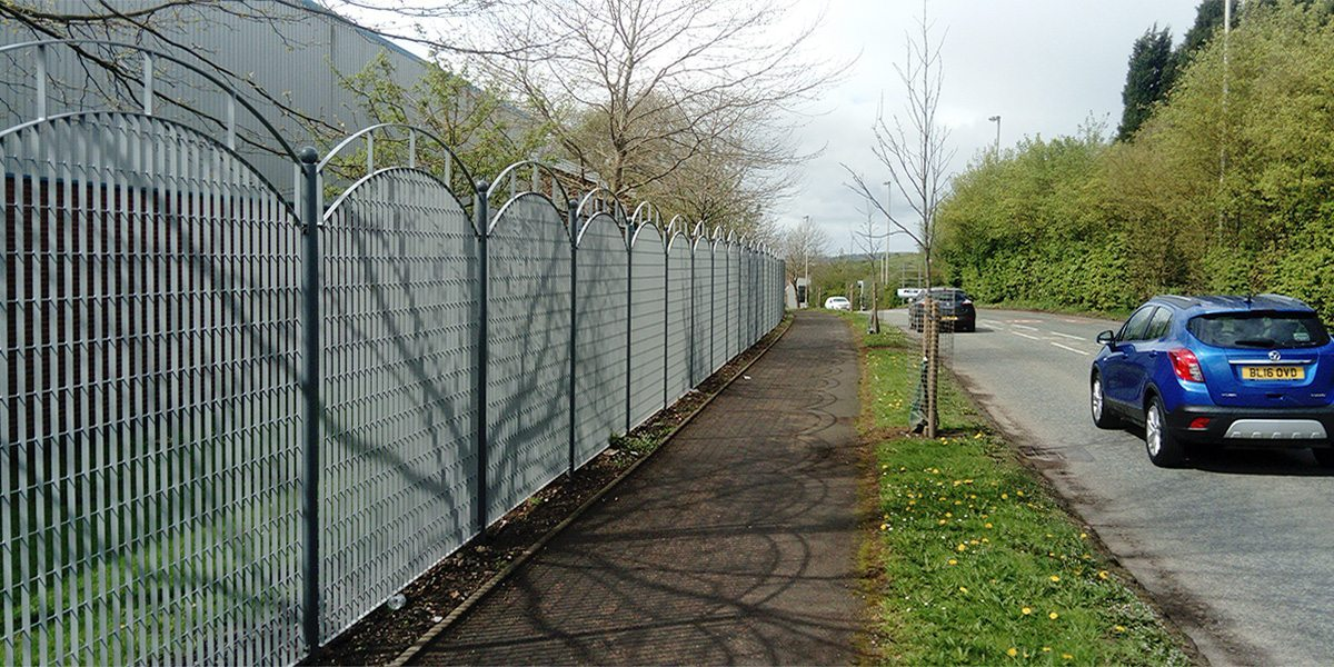 Security fence at Pensnett Estate with customised bow top
