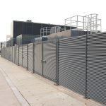 Louvre fence installed for screening and security at generator compound at Dumfries & Galloway Royal Infirmary