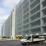 Framed panels of Stereo-3 grating for the car park facade